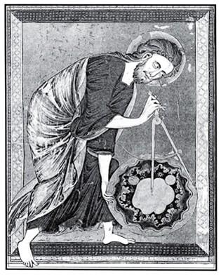 Идеята за Бога като Велик архитект на Вселената предхожда умозрителното масонство - миниатюра от Bible Moralisee (1220-1230 г.), показваща Демиурга, очертаващ границите на Сътворението