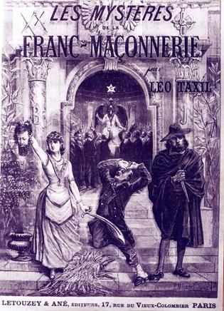 """Корица на книгата на скандалния франзуцин Лео Таксил. Илюстрацията изобразява измислен от него фантастичен ритуал за """"божеството"""" Бафомед"""